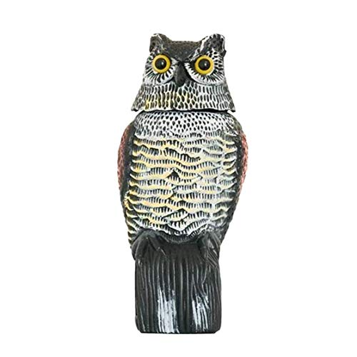 AJIC Owl Decoy with 360° Rotating Head Bird Deterrent Battery Powered Waterproof Shape Owls for Bird Control Natural Enemy Scarecrow Realistic Fake Owl
