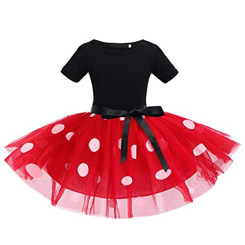 IWEMEK Baby Girls Polka Dots Princess Christmas Dress Wedding Cosplay 1st Birthday Outfits Pageant Fancy Costume Bowknot Ballet Dance Leotard Tutu Skirt with Party Ears Headband Red Polka Dot 6 Years