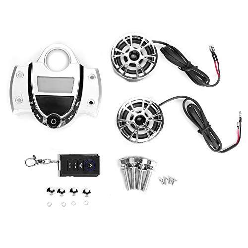 Motocicleta Altavoz MP3, 12V Universal Moto Impermeable MP3 Audio Radio FM Alarma Estéreo Altavoz Kit de control remoto