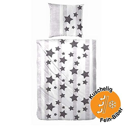Aminata Kids - Premium Biber-Bettwäsche-Set grau, weiß Sterne & Streifen 135 x 200 cm, 80 x 80 cm, aus Baumwolle mit Reißverschluss, Stern-Motiv Flanell-Bettwäsche, warm & kuschelig, anthrazit
