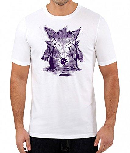 Gengar Ghost Pokemon inspiriertes Gaming-T-Shirt für Herren Gr. L, weiß