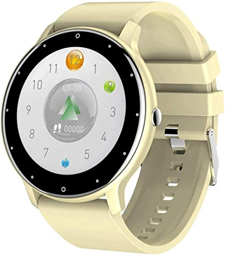 JSL Relojes inteligentes para hombre y mujer de 1.3 pulgadas ultra delgado pantalla grande IP67 impermeable multi-deportes modelo fitness pulsera-amarillo