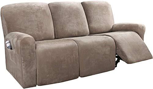 JXJ Fundas de sofá reclinables de 8 Piezas Fundas de sofá reclinables elásticas de Terciopelo para Fundas de sofá de 3 Cojines Fundas Gruesas, Suaves y Lavables para Muebles con Fondo elástico (
