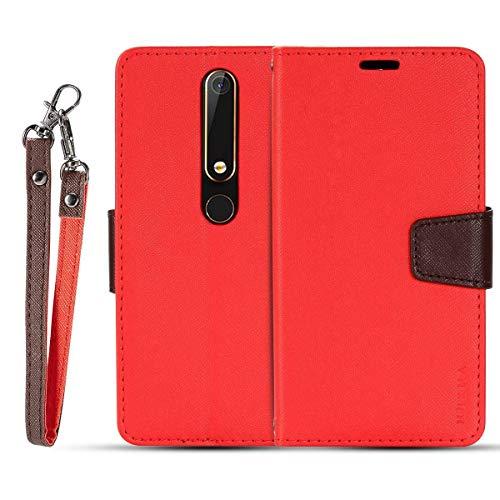 JEEXIA® Schutzhülle Für Nokia 6.1 (2018) / Nokia 6 2018, Retro PU Lederhülle Flip Cover Brieftasche Innenschlitzen Mit Stand Doppelte Farbe Ledertasche - Rot