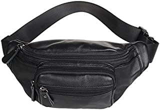 Polare Men's Leather Fanny Pack / Waist Bag / Organizer Medium Black
