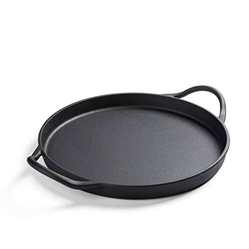 Pre Seasoned Cast Iron Skillet, Dual Handles Durable Frying Pan Deep Pizza Pan Large Loop Handles, Camping Skillet, Pizza Pan, Fry Pan-diameter30cm