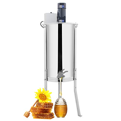 VINGLI New Electric 2 Frame Honey Extractor Separator,Food Grade Stainless Steel Honeycomb Spinner Drum with Adjustable Height Stands,Beekeeping Pro Extraction Apiary Centrifuge Equipment