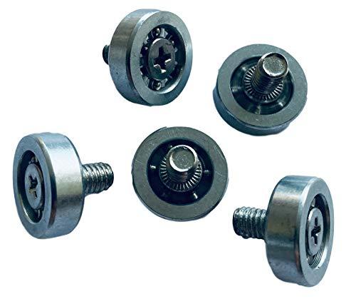 5x 19mm KUGELLAGER/Laufrollen mit M6 Gewinde, 8mm lang – Lagerrollen für Werkzeug, Handwerk, Modellbau, Maschinenbau (Laufflächen Chromstahl verzinkt)