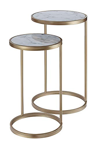 Convenience Concepts Coast Nesting End Tables, Faux Marble/Gold