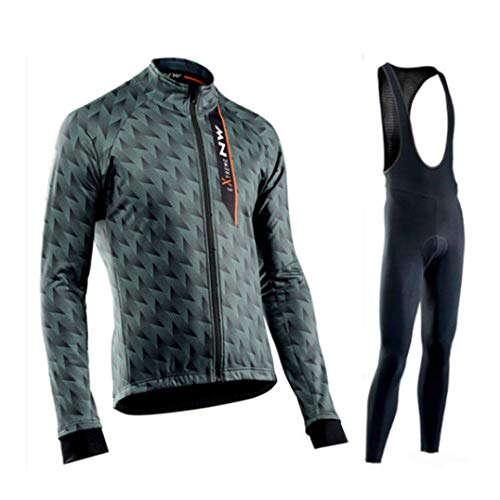 Hplights Jersey de ciclismo transpirable manga larga chaqueta completa cremallera bicicleta camisa con bolsillos gel 9D acolchado pantalones de secado rápido, XXXL