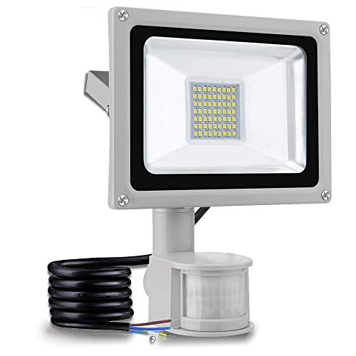30W focos led exterior con sensor movimiento,led luz exterior,proyector led exterior 3000LM 6000K foco para para patios, terrazas, plazas, fábricas y pasillos ...