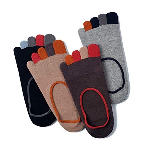 Toe Socks for Men, Classique Crew Low Cut Cheville Coton Course, Randonnée, Marche, Camping (Pack De 4),A