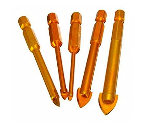 JUSU Store 5pcs bits de Broca de Vidrio Conjunto Accesorios de Herramientas eléctricas recubiertas de Titanio 1/4'Shank Hex 3/4 / 6/8 / 10mm (Color : Gold)