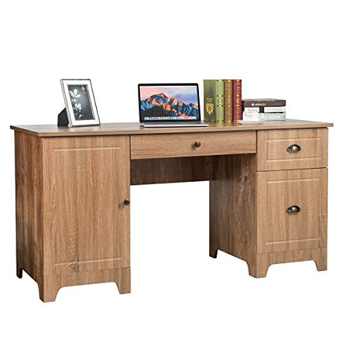 Tangkula 59 Inches Computer Desk, Wood Executive Desk Home Office Desk with Storage Drawers & Cabinet, Writing Study Table Computer Workstation, PC Laptop Desk for Bedroom & Office (Natural)