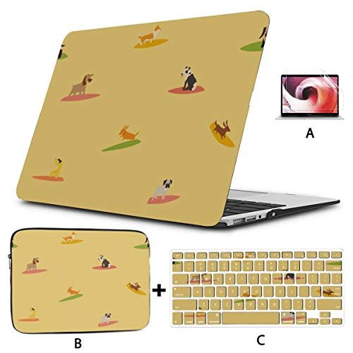 Macbook 2017 Case Cool Happy Fun Summer Day Surf Dog Laptop Shell Hard Shell Mac Air 11'/13' Pro 13'/15'/16' With Notebook Sleeve Bag For Macbook 2008-2020 Version