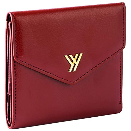 YBONNE Women's Small Compact Bifold Pocket Wallet, Made of Finest Genuine Leather (Red)