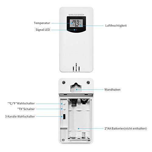 Newentor Außensensor für Wetterstation Funksensor Außen Thermometer-Hygrometer, Weiß (Nur Außensensor)