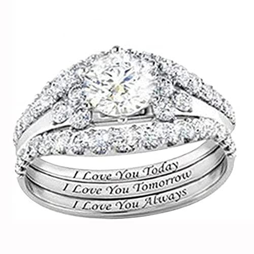 MRDUEWS Anillos De Diamantes De Imitación De Cristal para Mujer, Conjunto De Anillos De Diamantes De Imitación De Plata De Joyería De Moda para Mujer, Anillo De Fiesta para Mujer