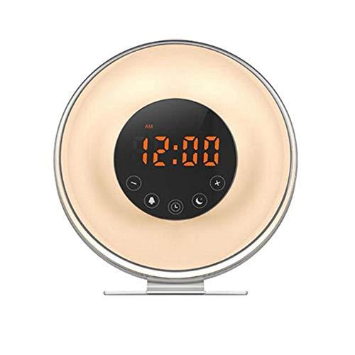 ZSH Despertador de luz de Despertador con simulador de Amanecer y Atardecer, 6 Sonidos Naturales, 7 Luces de Noche en Color, Radio FM, Control táctil