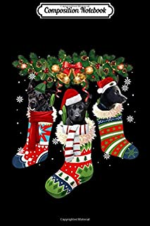 Composition Notebook: Three Australian Kelpie In Sock Christmas Santa X-mas Dog  Journal/Notebook Blank Lined Ruled 6x9 100 Pages