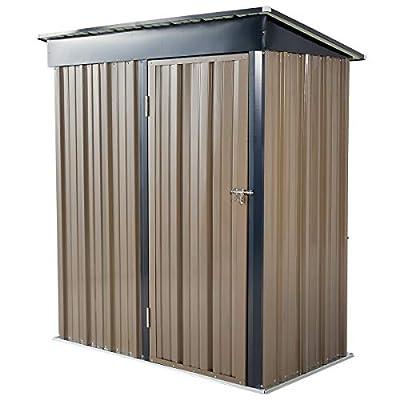 U-MAX 5' x 3' Outdoor Metal Storage Shed, Steel Garden Backyard Shed with Double Door & Lock (Gray Black)