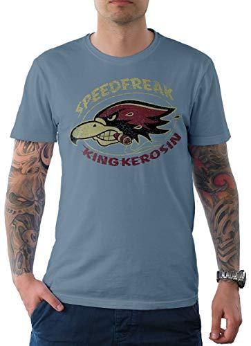 King Kerosin Herren T-Shirt Tee Speedfreak Hellblau 2XL