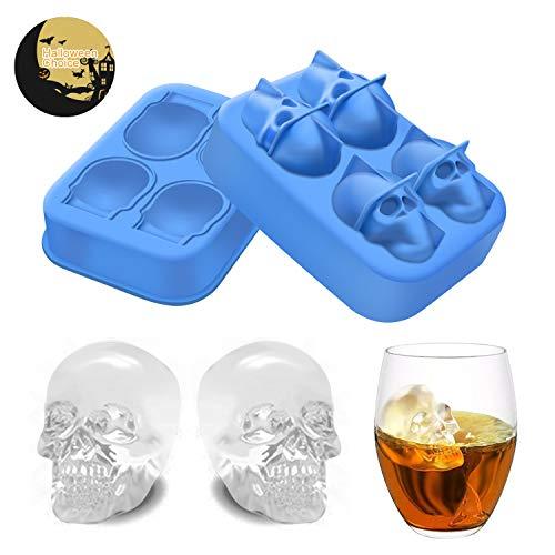 3D Eiswürfelform Mit Deckel, Flexible Lebensmittel Grade Silikon Eis Würfel Schokolade Süßigkeiten Bier Whisky Trinken Schimmel Trays, Perfekte Für Kinder Halloween Geschenke, BPA Frei
