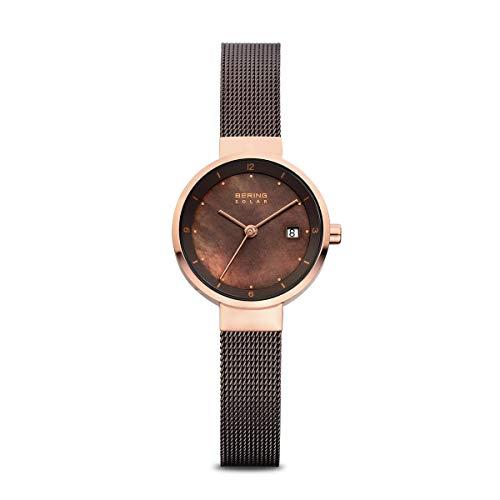 BERING Reloj Analógico Solar Collection para Mujer de Energía Solar con Correa en Acero Inoxidable y Cristal de Zafiro 14426-265