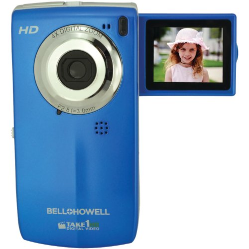 bell howell cheap camcorders Bell+Howell T100HD-BL Take1 HD Digital Video Camcorder with Fold Out LCD Screen Video Camera with 1.8-Inch LCD (Blue)