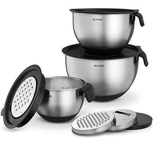 Edelstahl Rührschüsseln mit Deckel, mit Reibe, Griff, Ausgießer und luftdichtem Deckel, rutschfestes Rührschüssel-Set zum Kochen, Backen, Vorbereiten, Lebensmittelaufbewahrung (3er-Set)