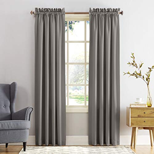 "Sun Zero Barrow Energy Efficient Rod Pocket Curtain Panel, 54"" x 84""-1, Gray"