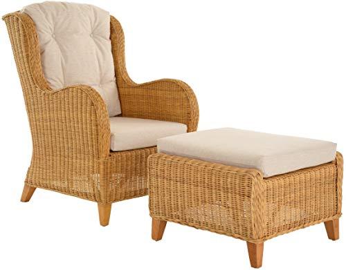 Krines Home Exklusiver Lesesessel Birmingham bequem Rattansessel Rattanmöbel Set Sessel aus Rattan Ohrensessel mit Hocker Honig