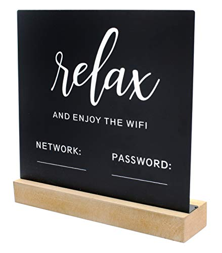 Decorae WiFi Password Sign for Home or Business, Chalkboard Style Metal Freestanding Sign
