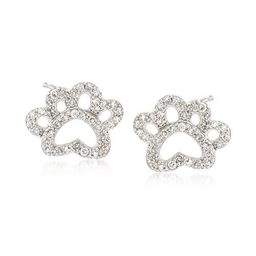 Ross-Simons 0.15 ct. t.w. Diamond Open Paw Print Stud Earrings in Sterling Silver