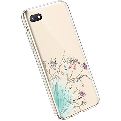 Ysimee Compatible avec Xiaomi Redmi 6A Coque Fleur Sauvages Floral Motif Etui en Transparente Silicone Souple Clair View Case Housse de Protection Ultra Mince et Léger TPU Bumper Cover,Fleur#27