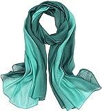 Lalander 195 x 70 cm elegante y estiloso pañuelo de seda para el cuello con degradado de color, regalo para novia o mujer Verde-a. Talla única