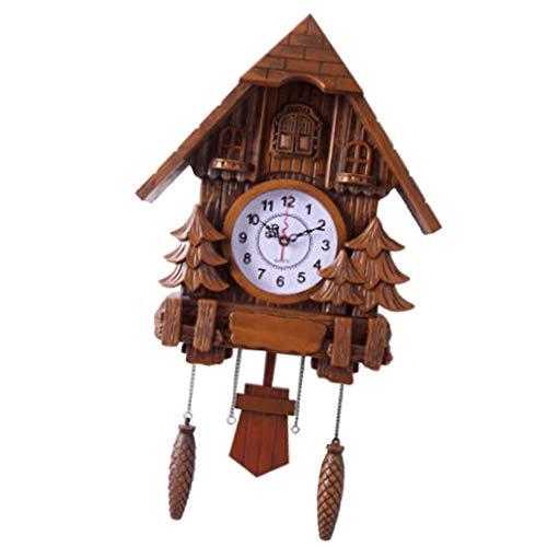PETSOLA Reloj Cucú De La Sala De Estar Reloj De Pared Reloj De Cuco Pájaro Decoración del Hogar Exhibición del Tiempo - marrón, Individual