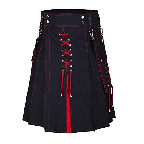 DSS KILTS- HYBRID FASHION COTTON KILTS IN VARIOUS COLORS (Belly Button Waist 38', Black & Red Cotton)