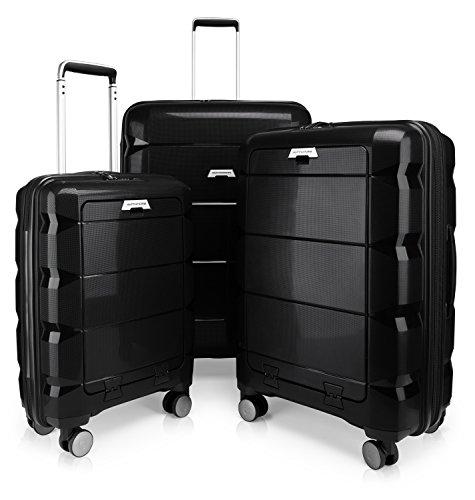 HAUPTSTADTKOFFER - Britz - 3er Koffer-Set Trolley-Set Rollkoffer Reisekoffer Erweiterbar, TSA, 4 Rollen, (S, M & L), Schwarz