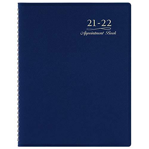 """2021-2022 Appointment Book/Planner - July 2021-June 2022, Weekly Appointment Book/Planner, 8.43""""x 10.67"""", Daily/Hourly Planner with Tabs, 15 Minutes, Wirebound - Dark Blue"""