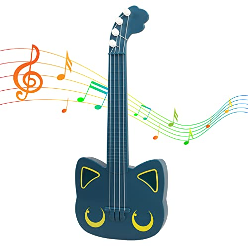 OnliForYu Kids Guitar 16.5 Inch 4 Steel Strings, with Pick Children Musical Instruments Educational Learning Toys Cute Kids Ukulele Gifts for Toddler Boys and Girls Beginners Ages 3 4 5 6 7 9 (Blue)