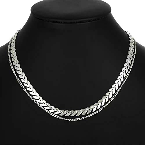 CNZXCO 2Pcs Joker Chain, Choker Collar, Metallic Sequin Women Short Collar Bone, Temperament Fashion Fish Gras Chain, Personality Minimalist Eversing Fashion Collar Necklace (Color : Silver)