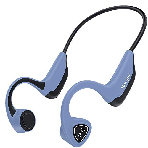 Auriculares Bluetooth de conducción ósea, reproductor de MP3 inalámbrico de 8 GB, oído abierto para correr, caminar, deportes, fitness (azul)