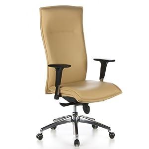 hjh OFFICE 600020 Silla ejecutiva Murano 20 Cuero Beige Silla ergonomica Respaldo Alto inclinable con Brazos