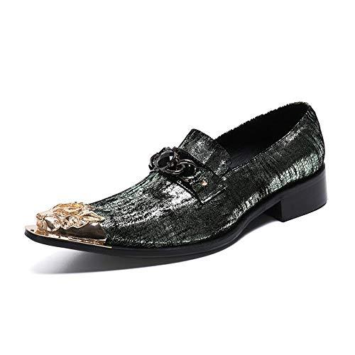 Heren Schoenen, Lederen Ademende Sets van Voeten Zakelijke Casual Europese Versie van de Groene IJzeren Hoofd Laag om te helpen Mode Wild Formele Wear Tide schoenen