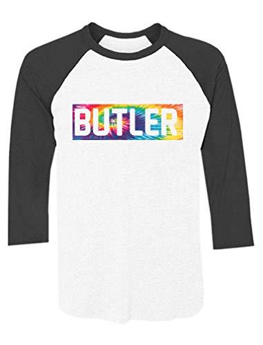 Butler University Apparel Butler Blue Go Dawgs NCAA Butler Bulldogs Camiseta raglan, Butler Tie Dye Preto/Branco, XL