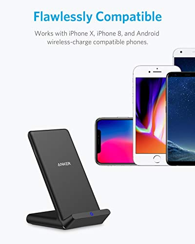 Anker Wireless Charger, PowerPort Wireless 5 Stand, Qi-Certified, Compatible iPhone 11, 11 Pro, 11 Pro Max, XR, XS Max, XS, X, 8, 8 Plus, Samsung Galaxy S10 S9 S8, Note 10 Note 9 (No AC Adapter)