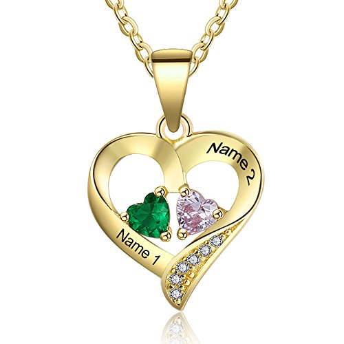 Love Jewelry Personalized 2 Names Necklace with 2 Heart Simulated Birthstone Couple Pendant Necklace for Women (Gold)