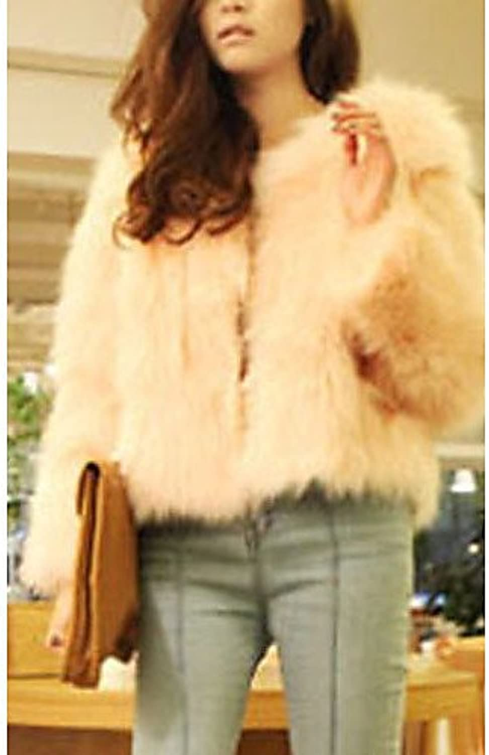 IJKMN YRF Long Sleeve Collarless Casual Evening Faux Fur Coat(More colors)