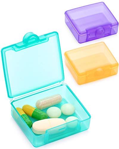 SUKUOS Tablettenbox 1 Tage, Pillendose 1 fächer, Handlicher Medikamentenbox Medikamentendosierer (3er Pack)